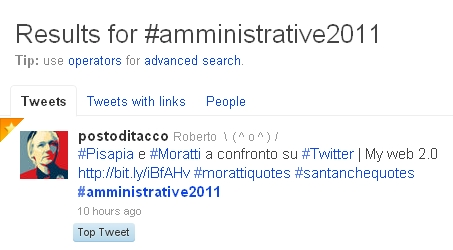top tweet amministrative 2011