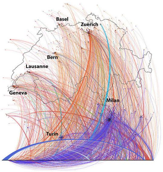 visualizzazione conversazioni geolocalizzate su Twitter