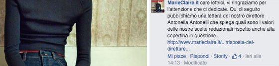 Una sana taglia 38 per Marie Claire Italia