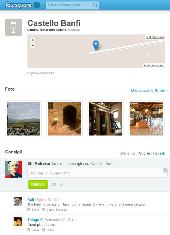 Foursquare: Castello Banfi, Montalcino